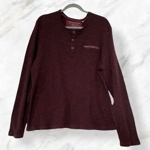 Guess XXL burgundy waffle pullover half button